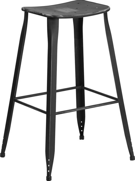 Distressed Saddle Bar Stools by 30 High Distressed Black Metal Indoor Outdoor Saddle