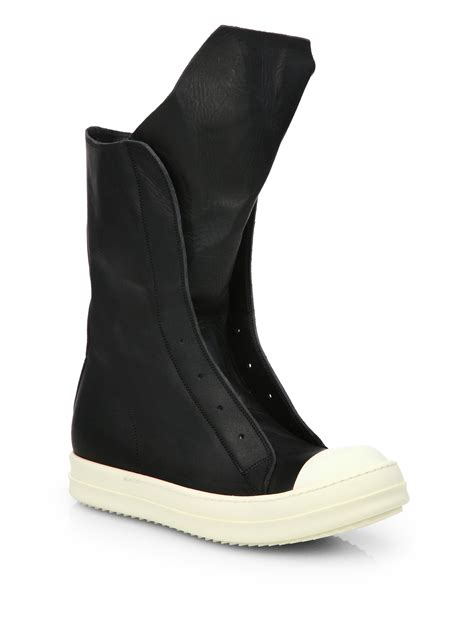 leather sneaker boots lyst rick owens ramones leather sneaker boots in black