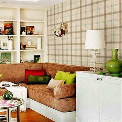 Country Living Room Wallpaper 10m Roll Wallpaper Style Wallpaper Plaid Wall
