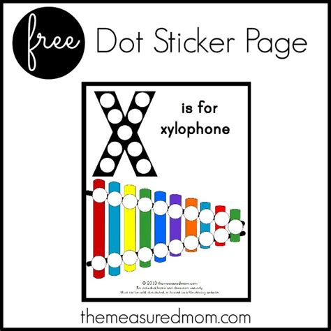 printable dot stickers letter x printable x is for xylophone the measured mom