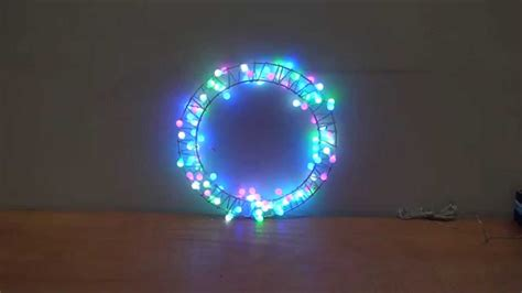 purple green and blue lights lights design flower ring wreath