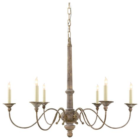 Country Light Fixtures by Essex 6 Light Chandelier Belgian White Farmhouse