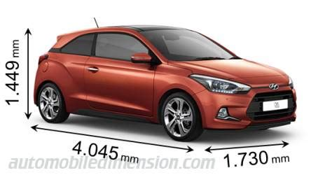 dimensions of hyundai cars showing length width and height