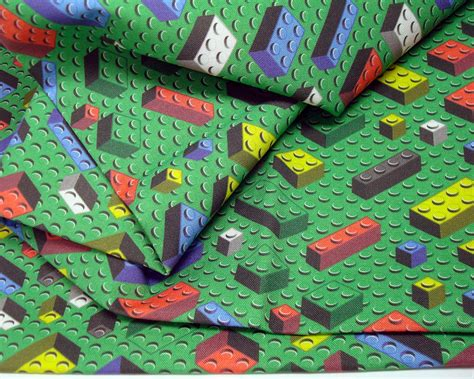 Quilting Cottons by Bricks Fabric Yard Lego Inspired Quilting Cotton Green