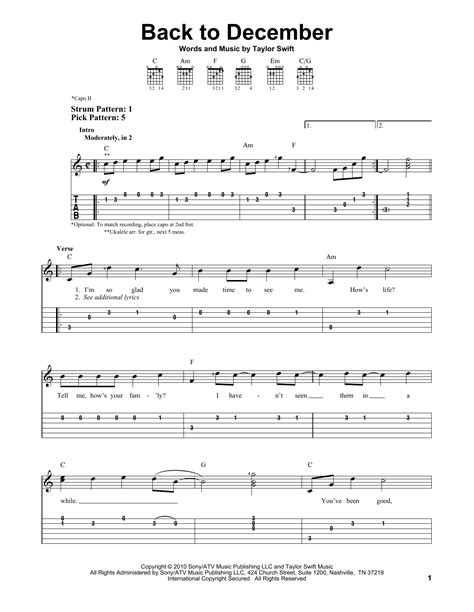 taylor swift back to december chord easy back to december sheet music by taylor swift easy guitar