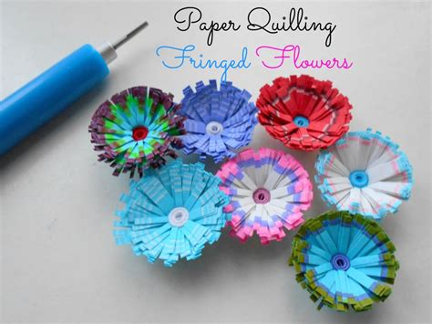 How To Make Designs On Paper - paper quilled fringed flowers with multi coloured fringes