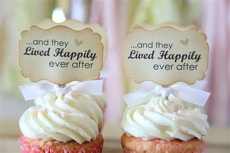 wedding cupcake toppers and they lived happily ever after