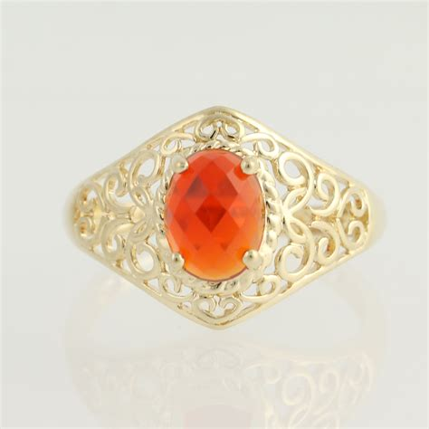 mexican fire opal mexican fire opal ring 14k yellow gold solitaire 1 05ct