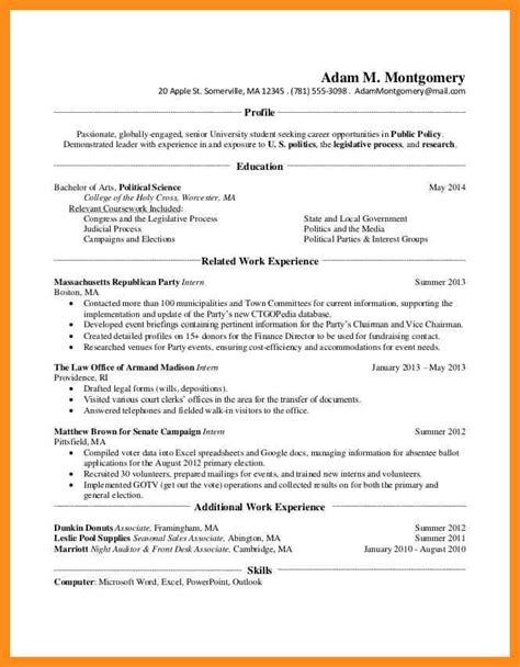 Resume Profile Examples For College Students by 9 Students Profile Sample Mystock Clerk