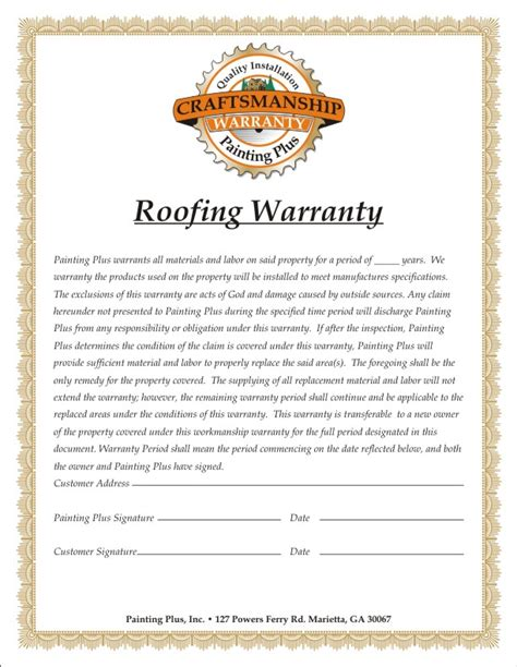 Painting Plus Carpentry Roofing Labor Warranty Template
