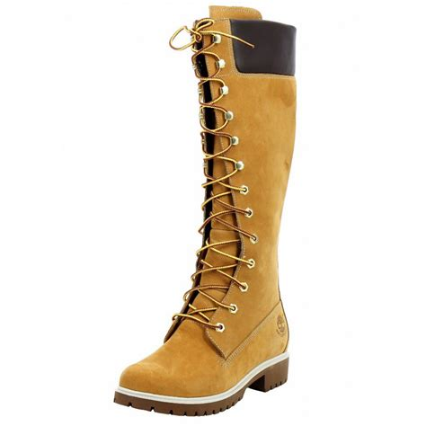 womens timberland 14 inch premium wheat brown zip up knee