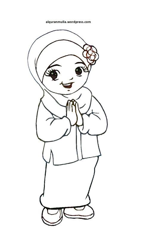 mewarnai gambar kartun anak muslimah  alquranmulia