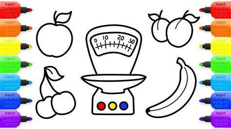toy kitchen coloring page baby toy kitchen scales and fruits coloring book and