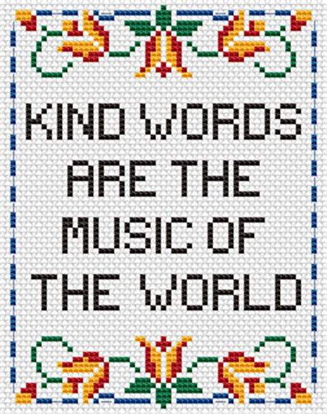 cross stitch pattern for words free cross stitch patterns kind words are music of the