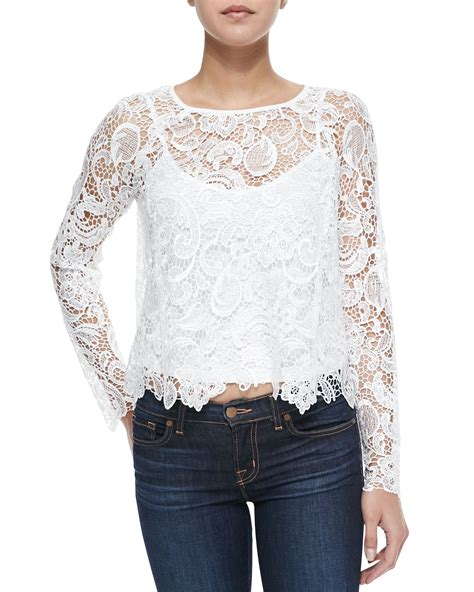 Sleeved Lace Top cusp sleeve scalloped lace top in white ivory lyst
