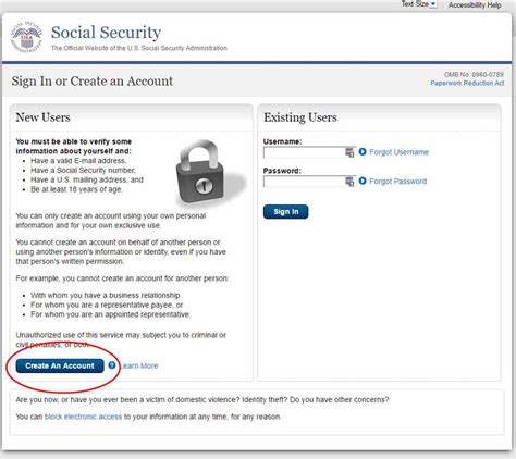 my Social Security: Creating your Social Security Online ... My Online Account