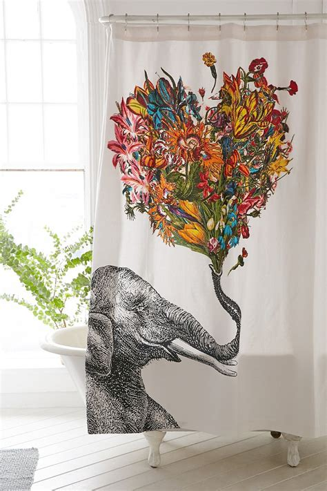 happy elephant shower curtain rococcola happy elephant shower curtain urban outfitters