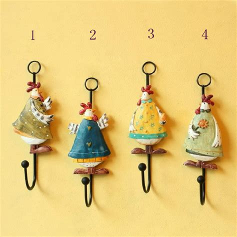 decorative wall hooks for hanging fashion rural style aesthetic relief chickens resin coat