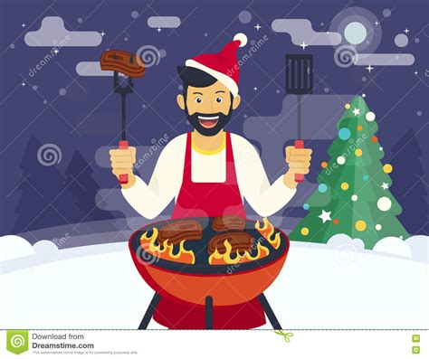 bq christmas bbq cooking stock vector image of barbeque flat 81776445