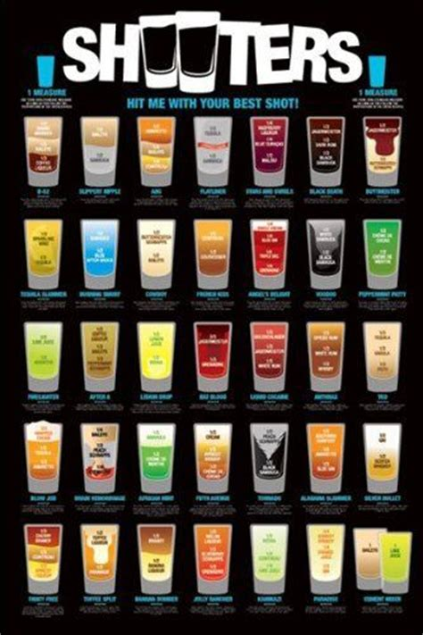 top ten bar shots details about shooters poster bar drinks full size 24x36