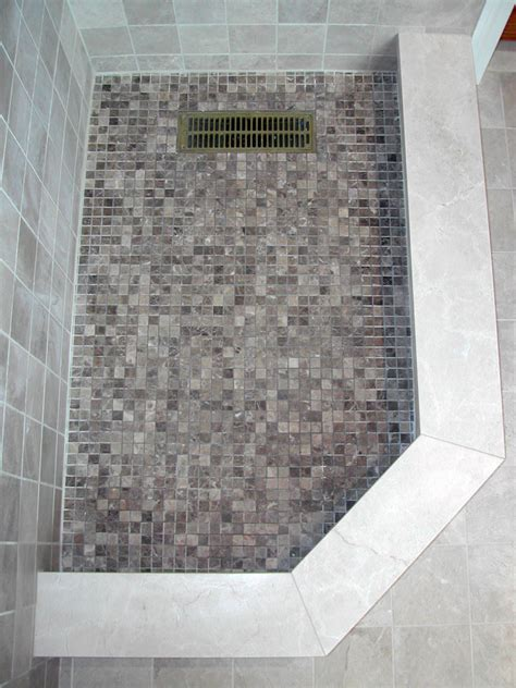 Mosaic Tile Shower Floor by Brenner Remodeling Tile Work Gallery
