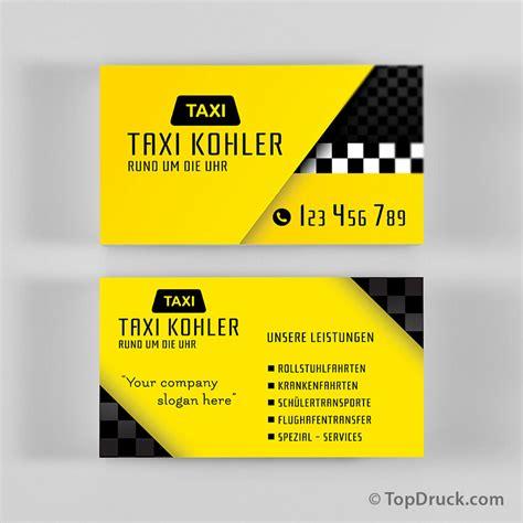 Visitenkarten Vorlagen by Taxi Visitenkarten Design Topdruck