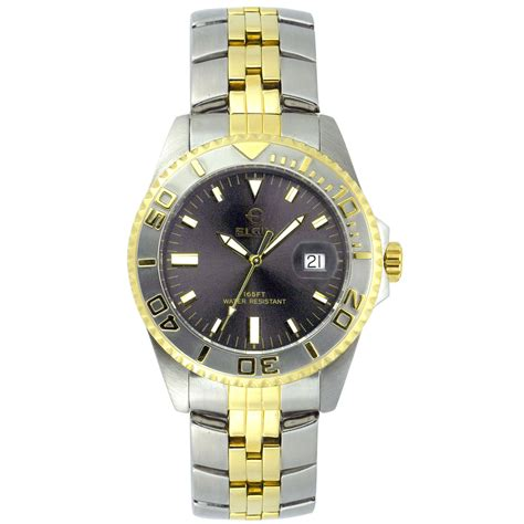 elgin mens two tone jewelry watches
