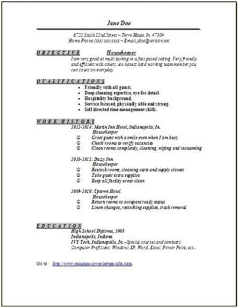 housekeeping resume sle objective link to an housekeeping supervisor resume