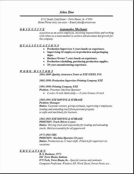 Automotive Mechanic Resume Occupational Exles Sles Free Edit With Word Automotive Resume Template
