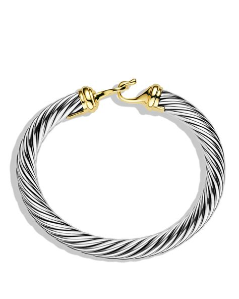 David yurman Cable Buckle Bracelet With Gold in Metallic   Lyst