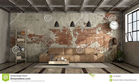 living room  industrial style stock illustration