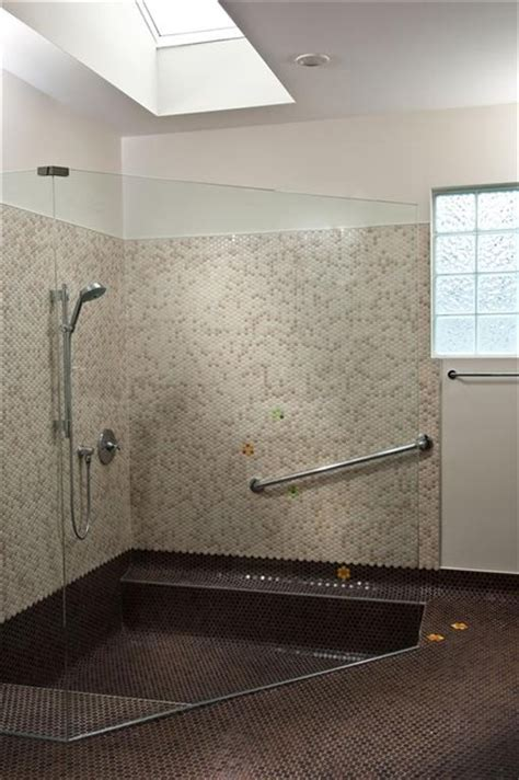 step down bathtub fun penny round tile with flowers down into the shower tub