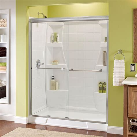 Delta Glass Shower Doors Delta Crestfield 60 In X 70 In Semi Frameless Sliding Shower Door In Bronze With Clear Glass