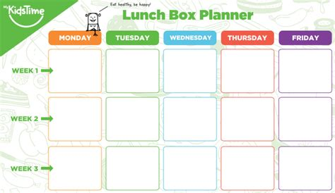 lunch box planner template free kids lunch box ideas planner to make you more organised