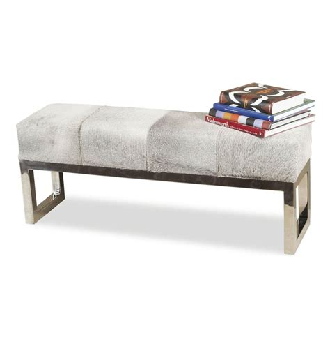 hide bench moro hollywood regency grey hide steel bench kathy kuo home