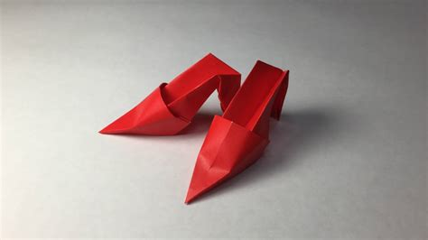 Shoe Origami - how to make a paper shoes origami high heels