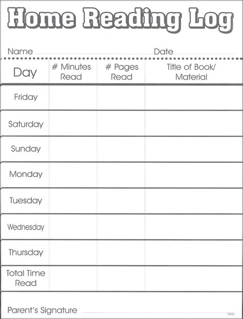 printable daily reading log with parent signature home reading log 057602 details rainbow resource
