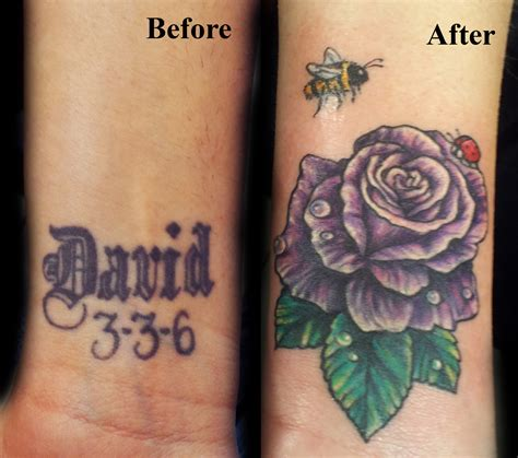 rose and ladybug tattoo before and after cover up purpler