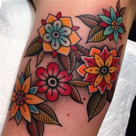 48 beautiful old flowers tattoos