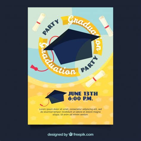 graduation mortar board template graduation invitation with mortarboard vector free