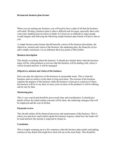 format of business plan restaurant business plan format