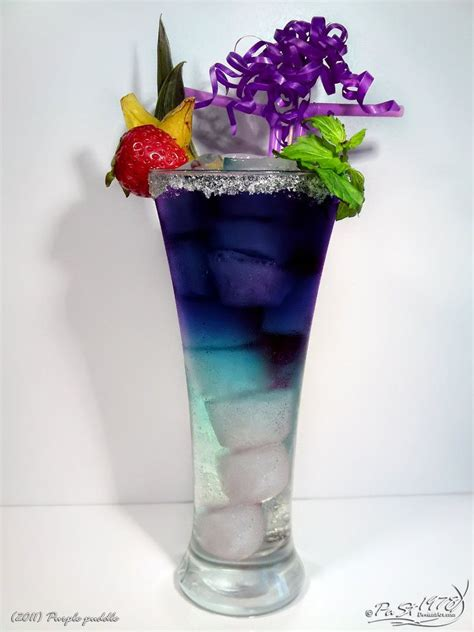 pretty alcoholic drinks purple puddle curacao blue vodka black sun sprite and