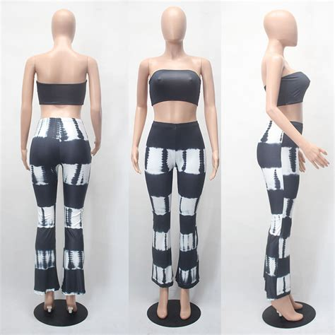 Casual Overall Set tie dye 2 set jumpsuit strapless crop top