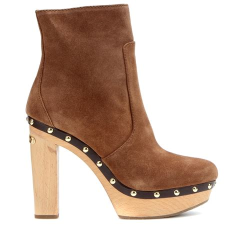 michael michael kors beatrice suede ankle boots in brown