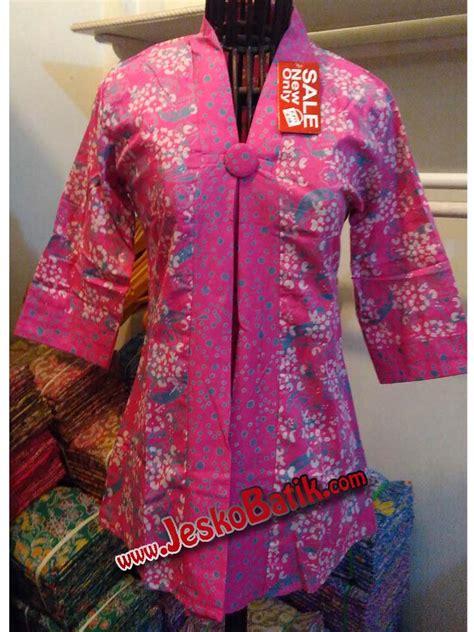 Blouse Batik Cap Encim Pastel blouse wanita batik cap seragam batik kantor b610