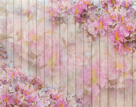 Horizontal vinyl cloth pink floral wood floor photography