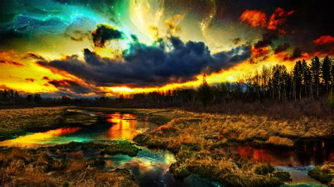 colorful landscapes digital nature river clouds forest