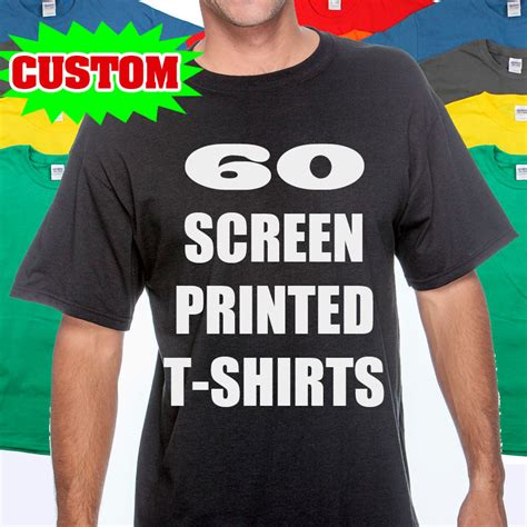 60 custom screen printed t shirts print one color ink 100
