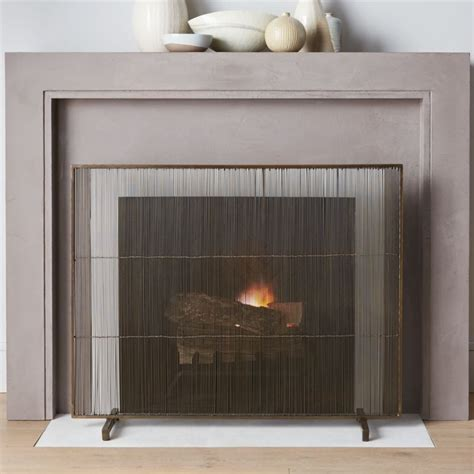 wide fireplace screen antiqued brass fireplace screen reviews crate and barrel