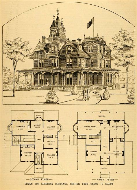 Victorian Floorplans by 1879 Print Victorian House Architectural Design Floor